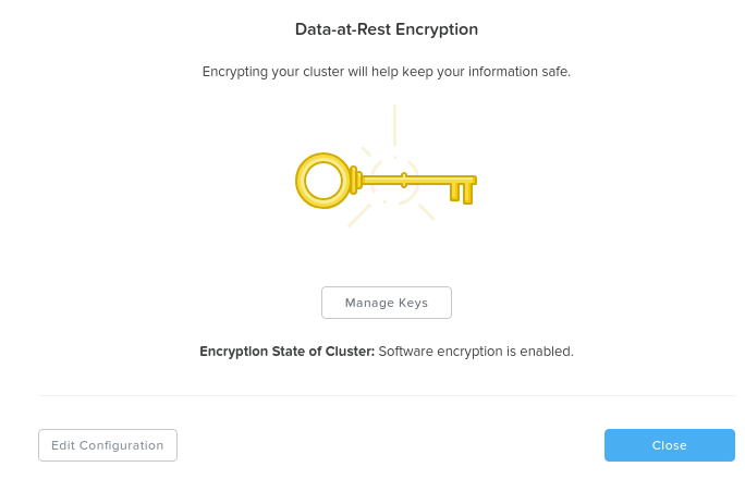 Data Encryption - Enabled (cluster level)